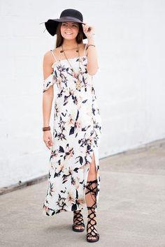 Charmed Life Off the Shoulder Floral Maxi Dress - NanaMacs.com - 1