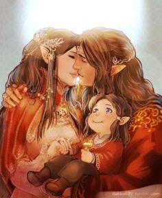 Curufin, his wife, and Celebrimbor by Dakkun39
