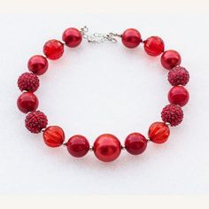Waiting for a matching necklace for your beautiful princess's dress Your princess will love this stunning red necklace! #BubbleGumchunkygirlsnecklace #necklace #fashion