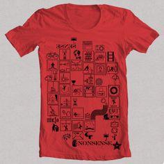 Camiseta NONSENSE roja 1Camiseta NONSENSE W, Diseño propio original de FLIP: signos, símbolos, deportes, animales, acciones, vintage, ángel, bicicleta, sol, cine, figuras, siluetas, clima, señales, acciones.