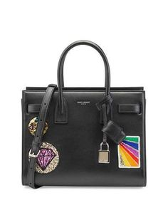 Saint Laurent Classic Baby Sac De Jour Multi-patch Bag In Black Leather