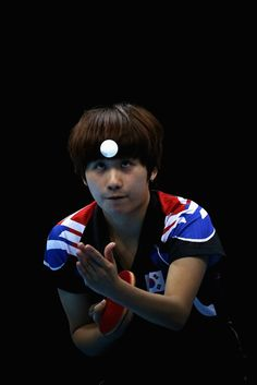 Hajung Seok of Korea competes during Women's Team Table Tennis semifinal match against team of China on Day 10 of the London 2012 Olympic