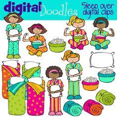 Sleep over Slumber party digital clip art