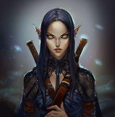 Female Elf Urban Ranger - Pathfinder PFRPG DND D&D d20 fantasy