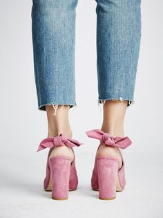 pink suede heels - perfect feminine touch to any outfit