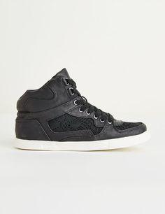 Baskets simili cuir et macramé noires - Jennyfer