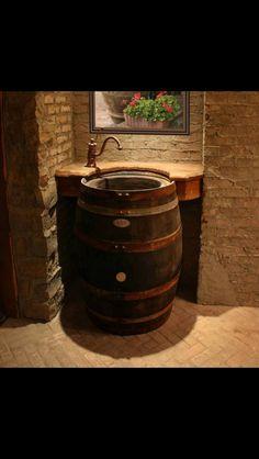 Sink from wine barrel