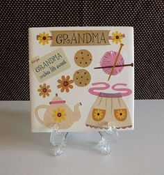 Grandma's Gift Table Coaster by DaisyDoodleTileShop on Etsy, $6.00