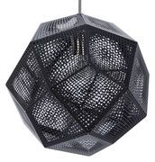 Tom Dixon's Etch is an elegant, geodesic pendant made of digitally etched metal sheets. When lit, the beautiful pattern casts soft and vivid shadows on the wall and ceiling, making Etch an atmospheric luminaire for many kinds of spaces. Tom Dixon Etch, Black Pendant Light, Suspension Design, Luminaire Design, Modern Ceiling, Black Lamps, Copper And Brass, Shades Of Black, Interior Lighting