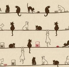 Cats on a line - Japanese fabric #art #graphic #design #illustration