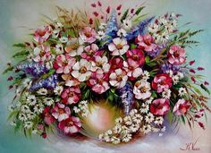 xudozhnik_Ekaterina_Seniv_02-e1499779072374 (700x508, 425Kb) One Stroke Painting, Painting & Drawing, Art Floral, Flower Pictures, Pretty Pictures, Pop Art Background, Floral Printables, Gerbera, Home Decor Wall Art