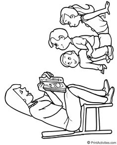 Coloring page of a teacher reading to young students