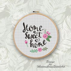 Home Sweet Home Cross Stitch Pattern PDF, Easy Cross Stitch Chart, Cross Stitch Floral PDF, Modern Embroidery Desing Cross Stitch Letters, Small Cross Stitch, Cross Stitch Bird, Cross Stitch Flowers, Cross Stitching, Wedding Cross Stitch Patterns, Disney Cross Stitch Patterns, Modern Cross Stitch Patterns, Free Cross Stitch Charts