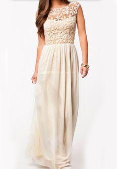 Apricot Sleeveless Floral Crochet Lace Maxi Dress