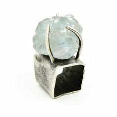 Sterling silver square ring, set with blue Celestite