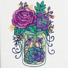 Kaleidoscope Blooms - Mason Jar | Urban Threads: Unique and Awesome Embroidery Designs
