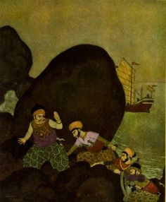 Edmund Dulac - Princess Badoura from the Arabian Nights Edmund Dulac, Rubaiyat Of Omar Khayyam, Illustrator, Hans Christian, Children's Book Illustration, Book Illustrations, Arabian Nights, Colour Images, Golden Age