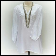 JM Collection Tunic 100% Cotton white tunic w/tiny bead detail in the front,  sleeves are a little longer than 3/4 length. Great condition. JM Collection  Tops Tunics