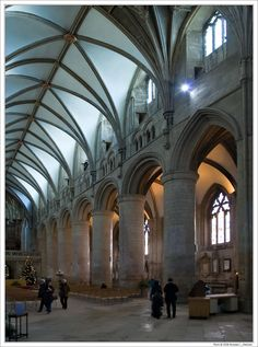 The Arcading with Small Triforium and Clerestory, South Aisle, Looking East; Gloucester Cathedral, England; photo by Branislav L. Slantchev