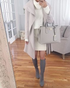 white and gray trench layers, knee high boots for petite and narrow calves