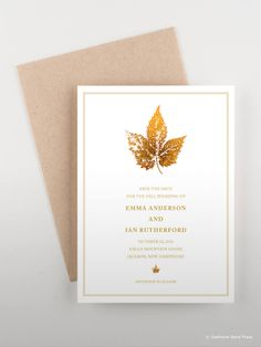 Autumn inspired invitations and save the date cards using gold painted leaf prints