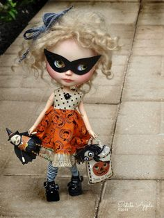 Apple is already wearing her SweetRedCottage Halloween dress by Paula, Trick or treat bag by Petite Apple