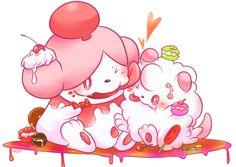 Slurpuff and Swirlix