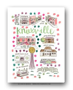 Knoxville Map Print  // Evelyn Henson // Collect your favorite cities at www.evelynhenson.com