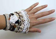 Boho Chic Flower Cuff, Crochet Charming Bracelet, Crochet Roses, Crochet Beaded Bracelet, Unique and Interesting Jewelry, Crochet Lace