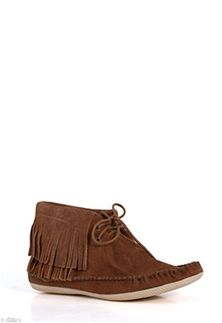Mia Shoes Winnie Fringe Moccasin Bootie in Tan