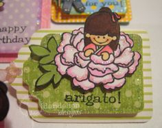 "Made a bunch of tags using my ""flower girls"" stamps. The tags were made with the small cling (SC) sized stamps. Dandelion Designs, Like A Rock, Japanese Design, My Flower, Stamps, Party, Crafts, Seals, Japan Design"