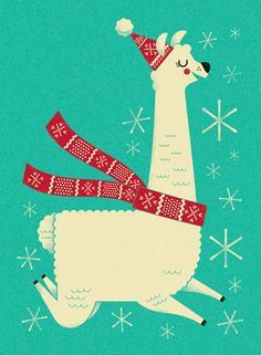 Christmas illustration of a frolicking llama. Steve Mack Creative