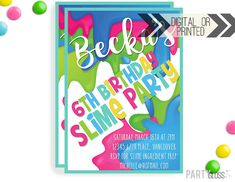 Slime Invitation | Digital or Printed | Slime Party Invitation | Slime Invitation | Slime Party Invite | Slime Making Party | Slime Birthday by PartyGloss on Etsy https://www.etsy.com/listing/514806507/slime-invitation-digital-or-printed