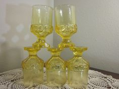 Franciscan Madeira Cornsilk Yellow stemmed water glasses.  Set of 5 on Etsy, $37.00