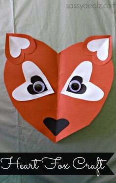 Paper Heart Fox Craft For Kids #Valentines day craft #DIY #What does the fox say | http://www.sassydealz.com/2014/02/paper-heart-fox-craft-kids.html