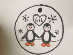 Personalized Love Penguin Ornament on Wood Slice