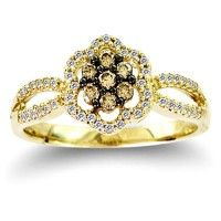 Chocolate Brown Diamond Flower Ring Cluster Fashion Band 10k Yellow Gold (0.30 ct.tw).    http://www.jeweltie.com/chocolate-brown-diamond-flower-ring-cluster-fashion-band-10k-yellow-gold-0-30-ct-tw.html  $799.00