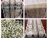 WEDDING DECOR Ivory Lace Table Runner /5ft-10ft x 7.5in Wide /Lace Table Overlay/Weddings/Ivory/ Etsy finds/Rustic Weddings/etsy trends