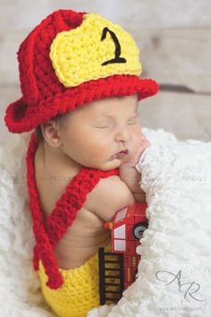 Crochet Firefighter Set by countrymommacrochet on Etsy, $35.00