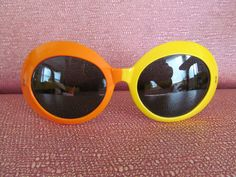 Large vintage 60's Samco mod pop op art orange and yellow plastic sunglasses made in Italy.