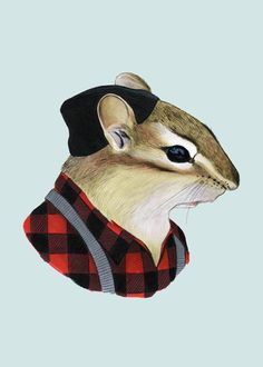 Chipmunk Print 5x7 or 8x10 by Berkley Illustration #animals #portrait #chipmunk #squirrel #lumberjack