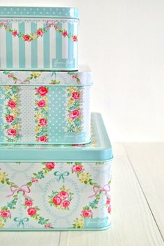 Greengate tin boxes - cottage chic decor