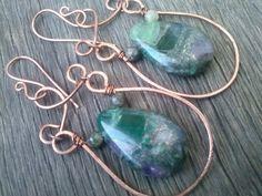 Gemstone wirework Earringsartisan copper by magyartist on Etsy