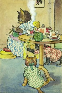 'mrs cat was busy knitting' ...illustrator a j macgregor