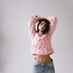 PINK SWEATER hand knitted wool sweater от flavourknit на Etsy
