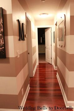 Hallway Stripes use same color just do the stripes in high gloss paint!