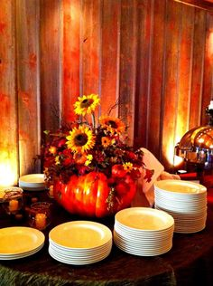 WANTED: RUSTIC FALL COUNTRY like decorations for wedding :  wedding country fall rustic Wedding Buffet Table