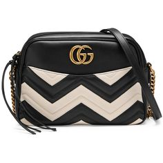 Gucci Gg Marmont Matelassé Shoulder Bag (€1.585) ❤ liked on Polyvore featuring bags, handbags, shoulder bags, women, real leather handbags, chain shoulder bag, gucci, genuine leather shoulder bag and black and white leather purse