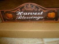 HARVEST BLESSINGS Thanksgiving Fall Autumn Resin Plaque Sign Decoration FREE SHIP