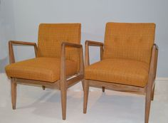 Jens Risom Chairs - Vintage Danish Mid Century Modern Chairs with Peach / Mustard Linen Weave Upholstery